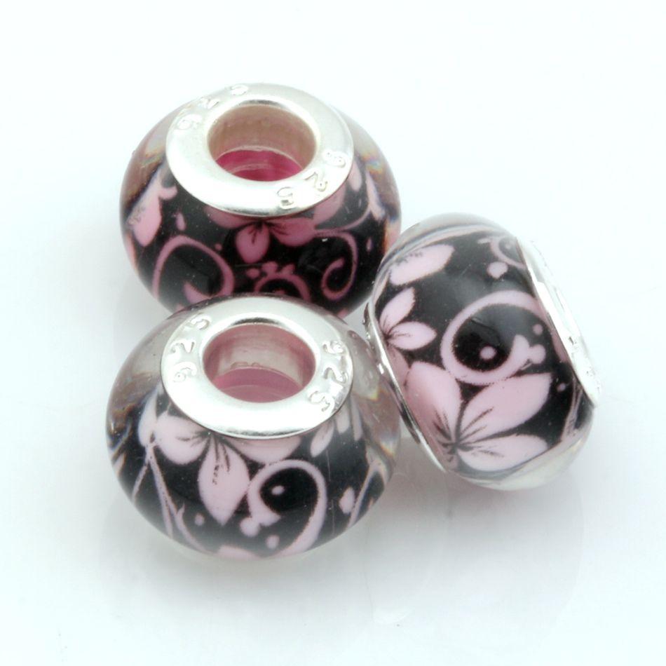 MIC 14mm Mezcla de cuentas de pegamento de árbol de Color Granos de 5 mm Granos de bolas de pulsera de cuentas europeas 100 UNIDS Granos de flores espaciadas joyería de DIY