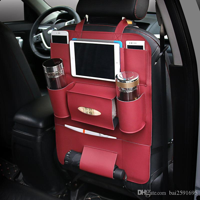Back Seat Organizer PU Car Multi Purpose Protect Headrest Storage Bag Cup Ipad Holder For Phone IPad Organize Online With