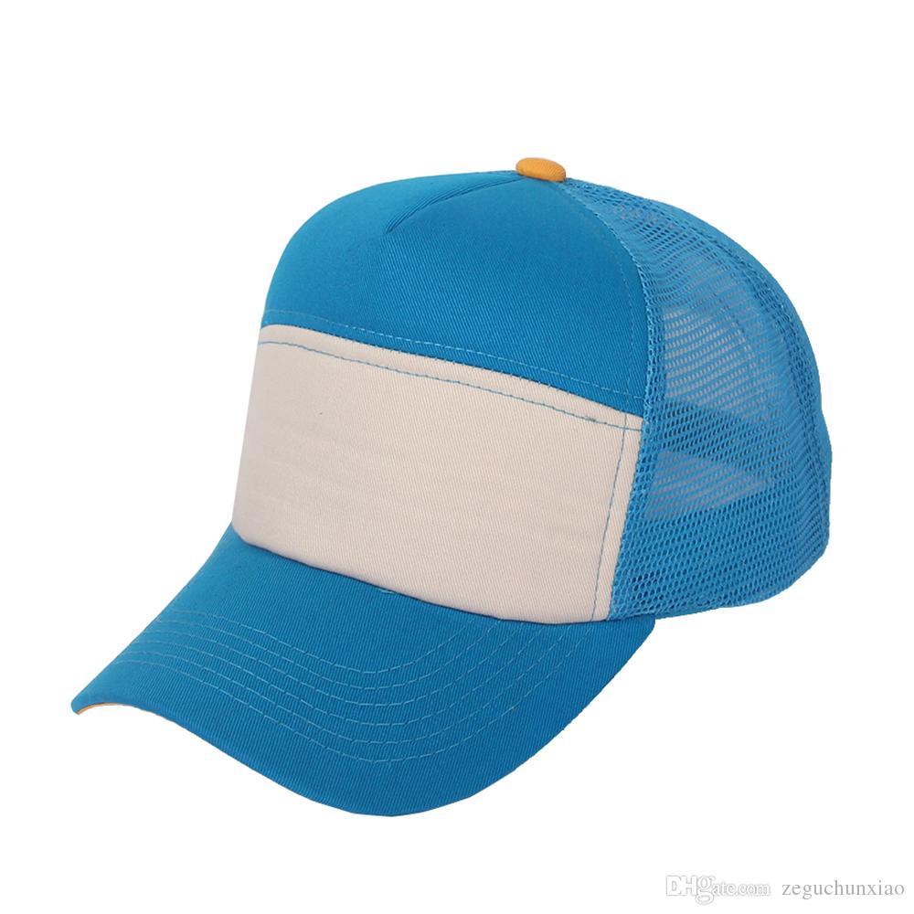 Sky Blue White Colors Trucker Hat Solid Brim Foam Front Mesh Back Boy Girls  Unisex Baseball Cap Plain Custom Cotton Kangol Baseball Caps From  Zeguchunxiao 30475e6cf20