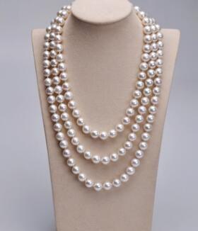 8 mm colore bianco puro perle naturali, nanyang shell pearl ha è naturale conchiglia rotonda ha lunghe donne collana maglione catena 120mm
