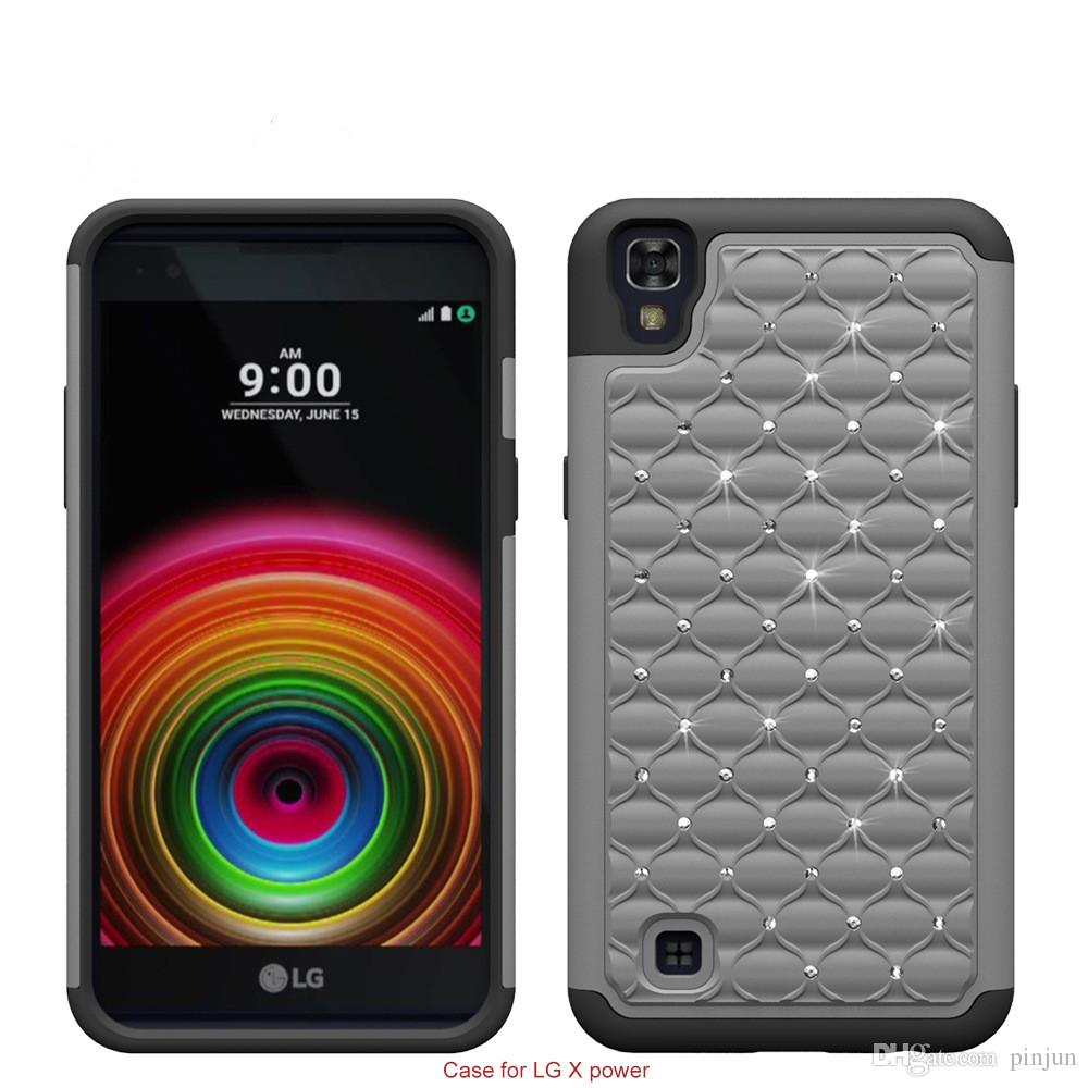 Armor case For LG X Power K20 K6P bling diamond Starry Rubber PC + Silicone Hybrid armor rhinestone cover