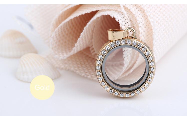 Moda 25 MM Yuvarlak Yaşam Bellek madalyon yüksek kalite beyaz kristaller Rhinestones yüzer Cam lockets kolye charms Fit kolyeler Takı