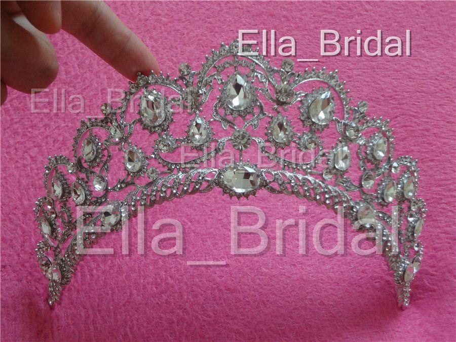 Real Photo Luxury Sparkle Beaded Crystals Wedding Crowns Bridal Crystal Veil Tiara Crown Headband Hair Accessories Party Wedding Tiara Hot