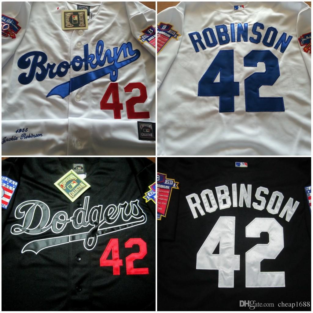 d923322e ... Jersey 1955 Throwback Los Angeles Dodgers White W . Los Angeles Dodgers  42 Jackie Robinson Black White Collection 1955 Hall Of Fame Dual Patch  Stitched ...