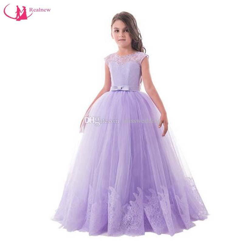 e87bb13d31ce Acquista 100% Di Alta Qualità Misswedding All ingrosso Flower Girl Lace  Abiti Piano Lunghezza Ragazze Party Dress Concorso Dress Bambini A Line  Design A ...