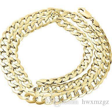 Collar de cadena de eslabones cubanos vacíos de oro amarillo real de 10Q para hombre 8 mm 24 pulgadas