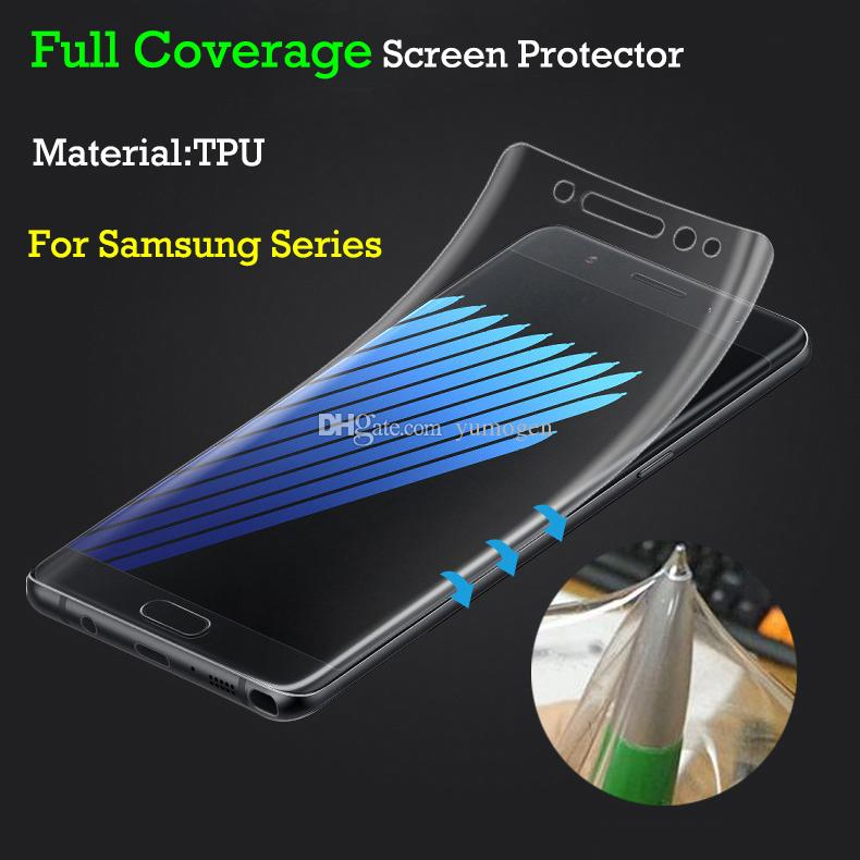 583d60d1ea6 S8 Samsung Galaxy S7 S7 Edge S6 S6 Edge Full Coverage Clear Soft TPU Screen  Protector Film Cover Curved PHardness Screen Protector Best Quality  Tempered ...
