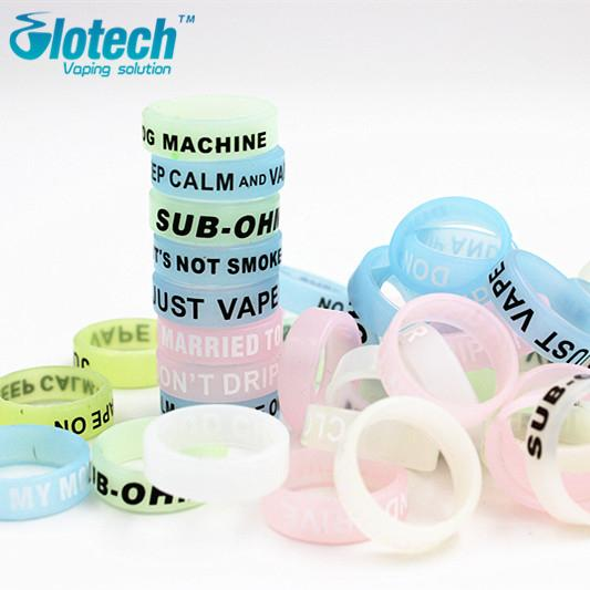 Wholesale-50pcs Hot Glow In The Dark Vape Bands Rubber Silicone Ecig Vape Ring decorative and protection vape ecig Non Slip rubber band
