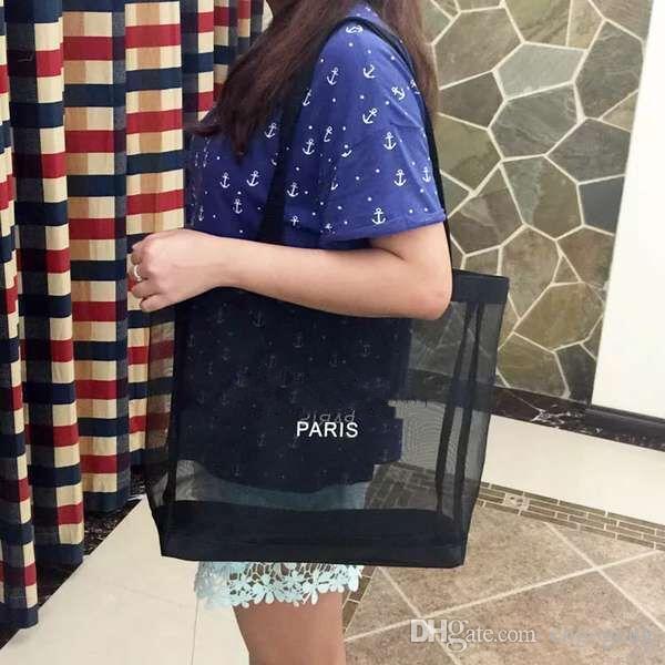 CALDO! Borsa di lavaggio cosmetica della maglia di trucco delle donne della borsa della lavata delle donne della borsa della maglia di modello di lusso del logo di bianco classico