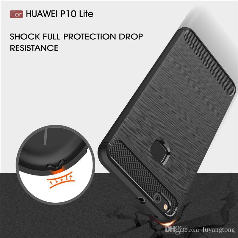 Kılıf için Huawei P10 Lite Durumda Yumuşak Kapak Karbon Fiber Doku Fırçalanmış Silikon Kılıf Için Huawei Nova Lite GR3 2017 Coque P 10