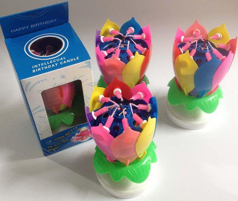 새로운 다채로운 꽃잎 음악 캔들 어린이 생일 파티 연꽃 스파클링 꽃 양초 스쿼시 꽃 화염 케이크 액세서리 선물 WX9 - 104