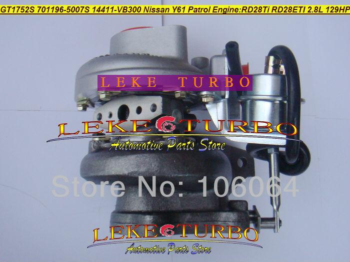 GT1752S 701196-5007S 14411-VB300 NISSAN Y61 PATROL RD28Ti RD28ETI 2.8L RD28T 129HP turbocharger (3)