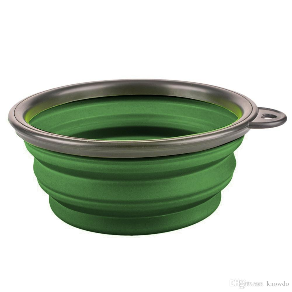 New Collapsible foldable silicone dog bowl candy color outdoor travel portable puppy doogie food container feeder dish