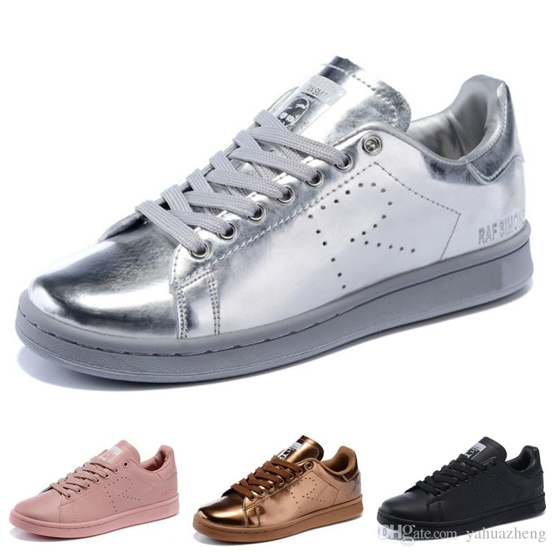 discount 511f7 ce1ab 2019 Raf Simons Stan Smith Spring Copper White Pink Black Super Star  Fashion Man Casual Leather brand woman man shoes Flats Sneakers 36-45