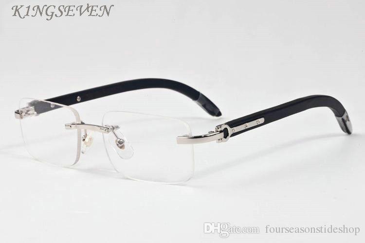 여성 나무 선글라스 2020 새로운 도착 fashioin 선글라스 물소 뿔 안경 검은 명확 직사각형 거울 렌즈 태양 안경을 무테