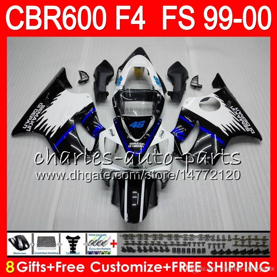 8Gifts Bodywork For HONDA CBR 600F4 CBR600F4 99 00 FS 30NO91 black blue CBR 600 F4 99-00 CBR600FS CBR600 F4 1999 2000 Fairing Kit