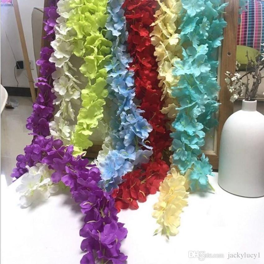 Upscale Artificial Silk Wisteria Flores Para DIY Casamento Arco Quadrado Rattan Simulação Flores Cesta De Suspensão Da Parede Home Decorações