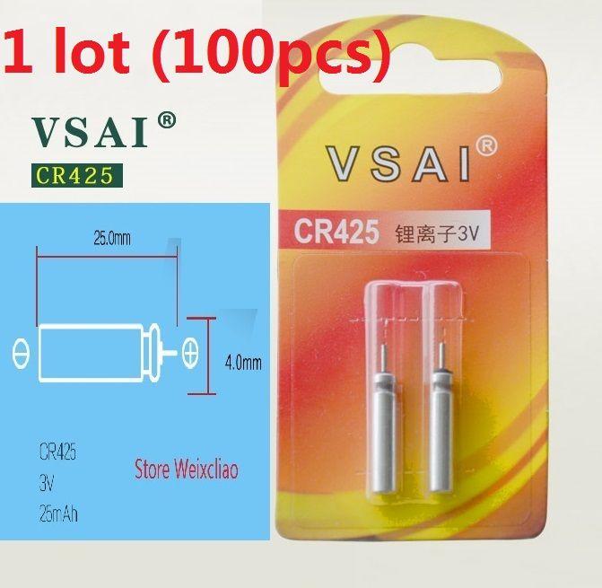 100 قطع 1 وحدة CR425 3 فولت دبوس نوع ليثيوم أيون بطارية cr 425 3 فولت بطاريات ليثيوم أيون الطعم الصيد مضيئة الأنابيب بطاقة شحن مجاني