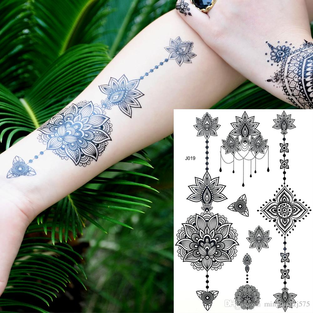 Fashion Flash Waterproof Tattoo Women Black Ink Henna Jewel Sexy