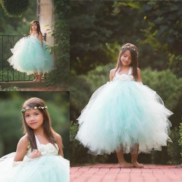 Mint Green Tulle Flower Girl Dresses For