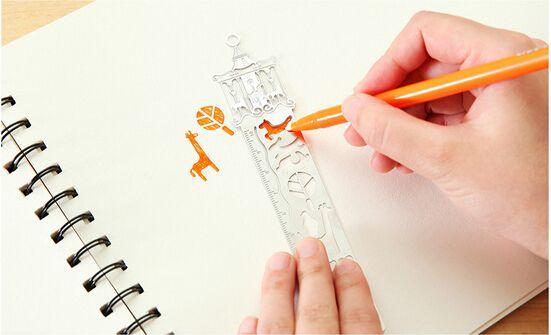 4 Tipi Metal DIY Imi Cetvel Hollow Mini Sevimli Çizim Imleri Hava Şablonu