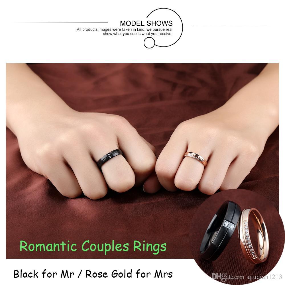 2017 Men Women Black Rose Gold Cz Couples Rings Stainless Steel ...