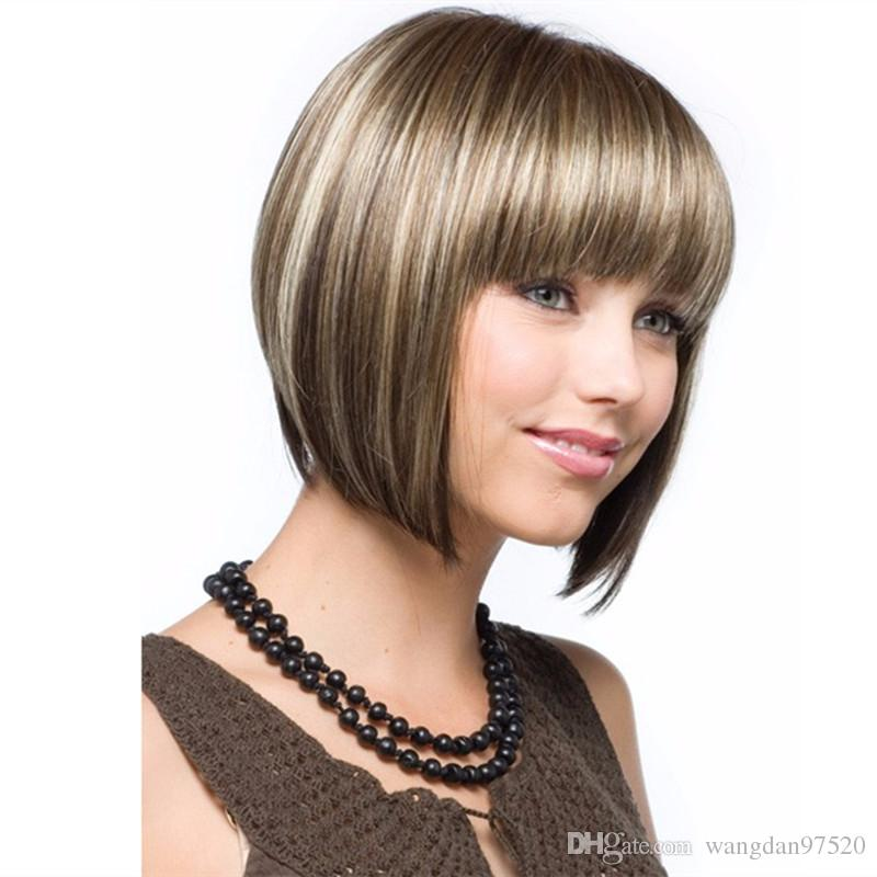 Highlights Short Straight Wigs For Women Ombre Synthetic Wigs Bob