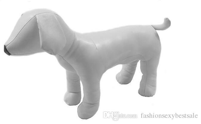 Kostenloser Versand! 2 Farbe schwarz / weiß Haustier Hunde Leder Mannequin Modell Standposition Hund Modelle für Hund Kleidung drei Größen M00471