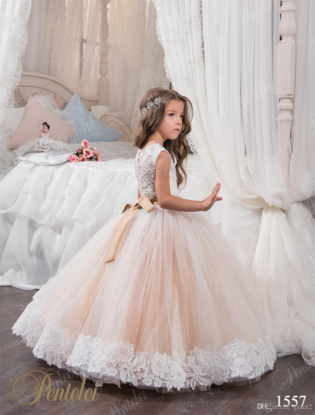 Miniature bridal dresses for little girls 2017 pentelei with miniature bridal dresses for little girls 2017 pentelei with beaded sash and jewel neck appliques lace tulle ball gown flower girls dress full length ombrellifo Image collections