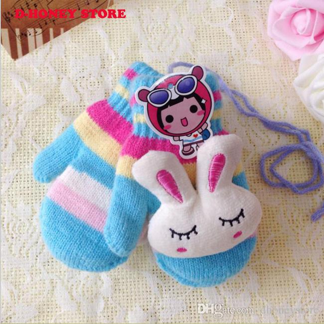 Kids Children Unisex Winter Warm cute rabbit pattern Glove Boy Girl's Wool Knitted Covered Fingers Mittens Gloves