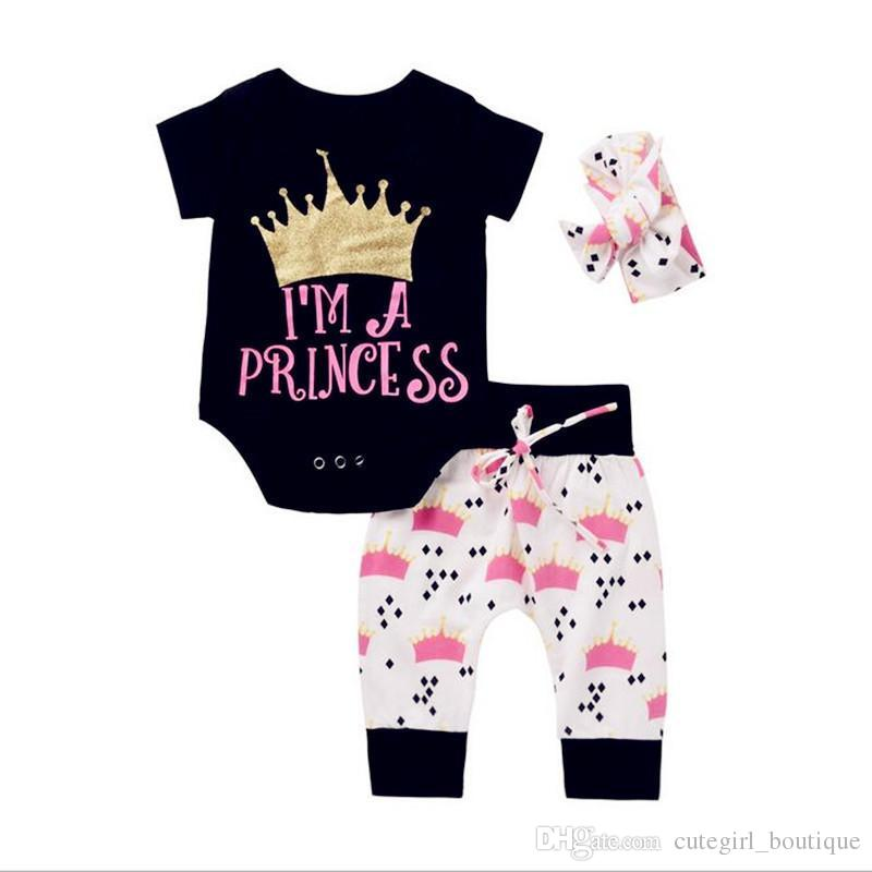 2e964626a 2017 Newborn Baby Girls Clothing Sets Cute Kids Clothing Baby Girl Crown  Tops Rompers+Pants Leggings+Headband 3PCS Girls Outfits Set Twinset