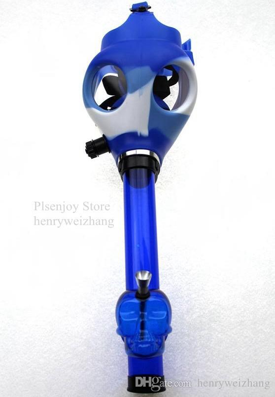 Gas Mask Bong Hookah Pipe Tobacco Bong Shisha Silicate Mask Acrylic Tube