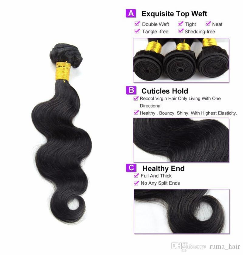 8A peruanischer Jungfrau-Haar-Körper-Welle mit Seiden Basis Schließung peruanischer Körper-Wellen-Menschenhaar-Bündel mit Silk Spitze-Schliessen