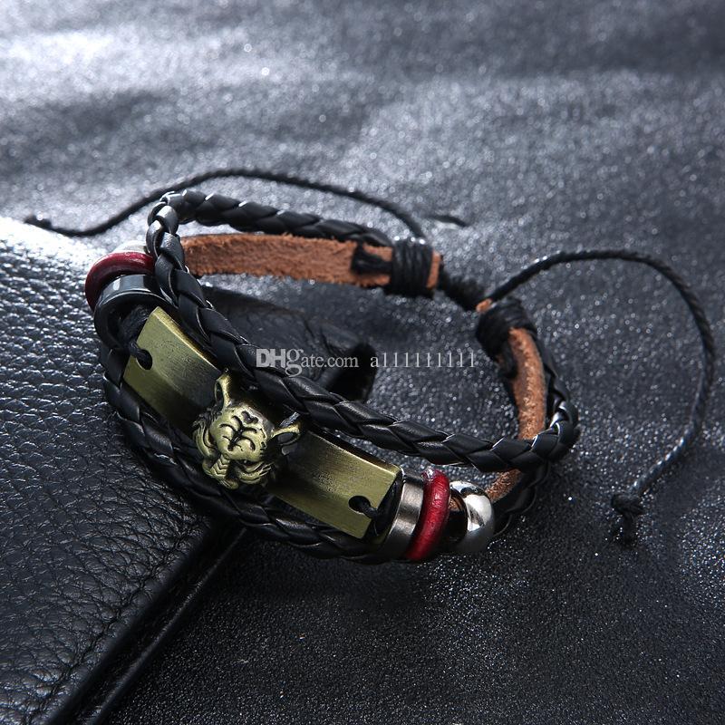 Nuovo braccialetto di cuoio della mano del pendente della lega del leopardo del braccialetto dei monili di cuoio della mano di retro modo di modo il braccialetto di cuoio di personalità degli uomini