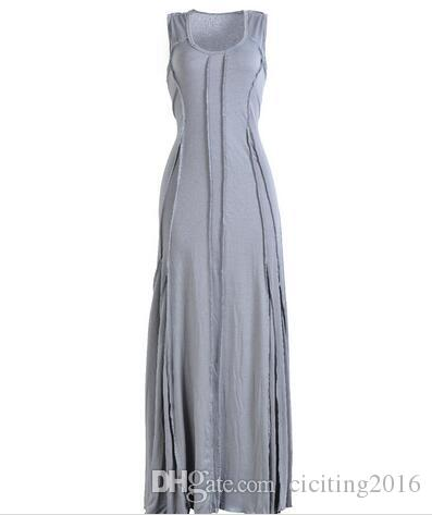 Plus Size Maxi Women Dresses Sleeveless Summer Sexy Preppy Shivering Spliced Cotton Lady Party Dresses Red Gray Green Black Blue 170307-01