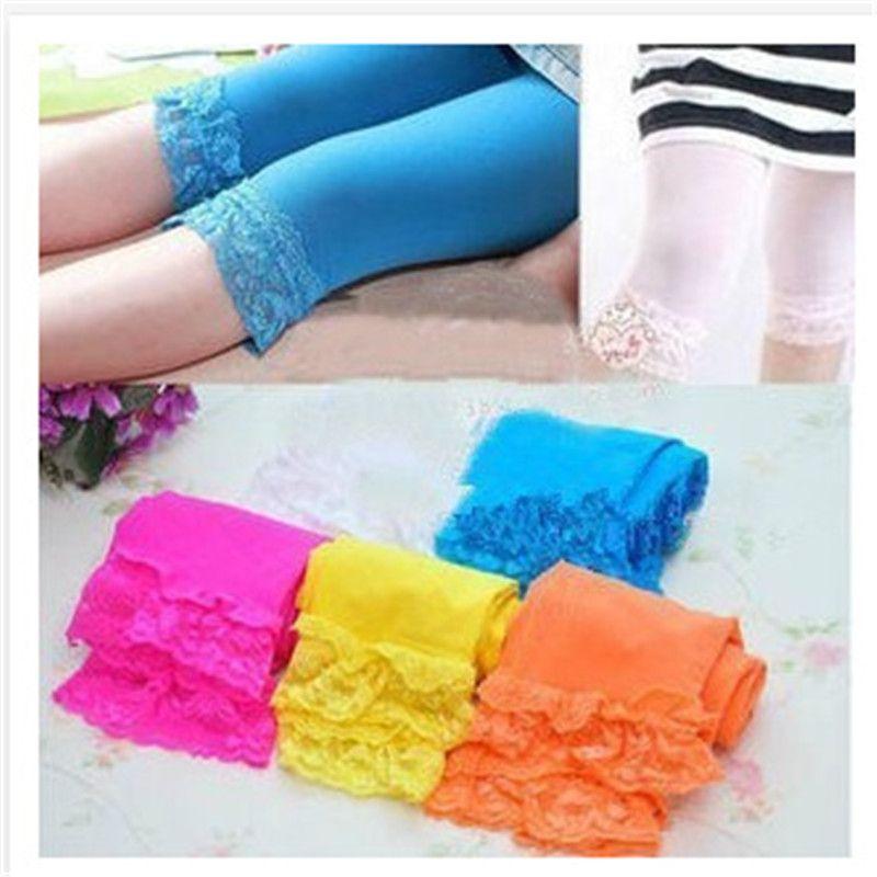 2017 High quality kids baby girls velvet candy color leggings summer girls lace leggings children Cropped Pants in stock