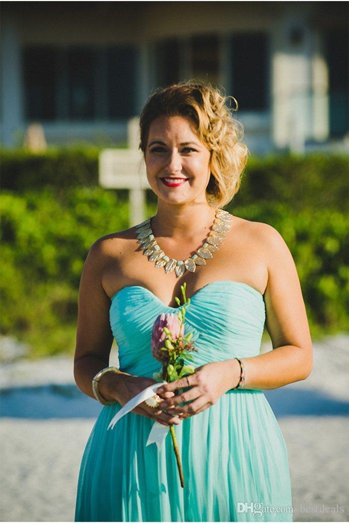 2016 Дешевые бирюзовый поток шифон Beach Bridesmaid платья плюс размер Длинные свадебное платье для вечеринок для летнего вечернего вечернего платья