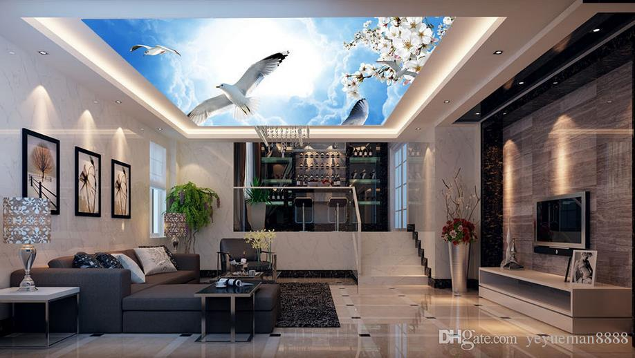 3d ceiling custom 3dwall mural wallpaper Beautiful autumn landscape tree sky ceiling photo wallpapers for living room 3d ceiling wallpaper