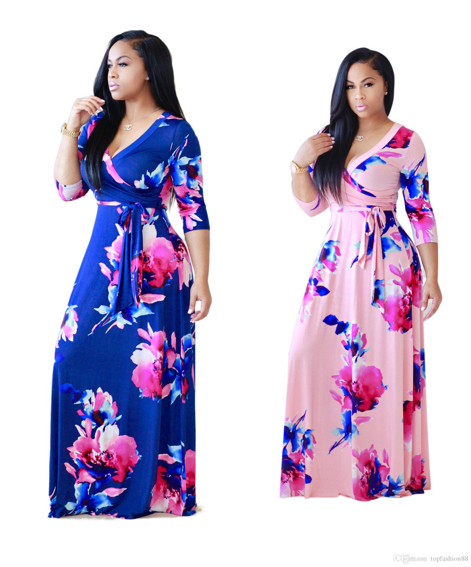 Womens Fashion V Neck Floral Printed Slim Long Maxi Dresses For Female Sexy  Long Sleeve Bodycon Bandage Floor Length Dress XL Silk Dress Women Dress  From ... 1de40d208