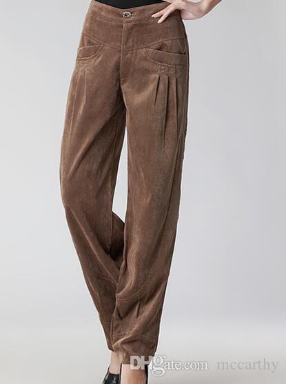 Pantaloni di velluto a coste le donne più la dimensione a vita alta sciolto casual harem pantaloni le donne a pieghe autunno primavera inverno nero rosso marrone seb0601
