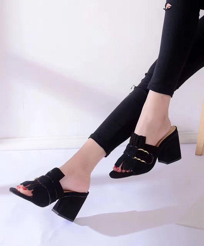 2018 новый дизайн женская мода толстые каблуки сандалии офис леди повседневная отдых пляж мягкая замша кожаные горки девушки лето большой размер 42 41 9