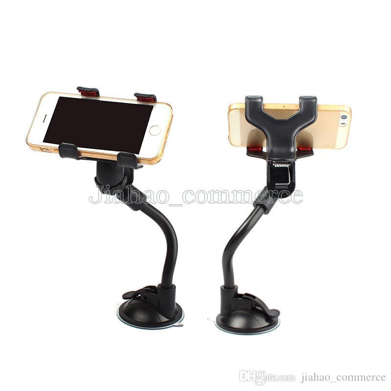 Evrensel Cam Araba telefonu Dağı tutucu Uzun Kol kelepçe ile Çift Klip Güçlü Vantuz Telefon Araba cep telefonu Tutucu için smartphone