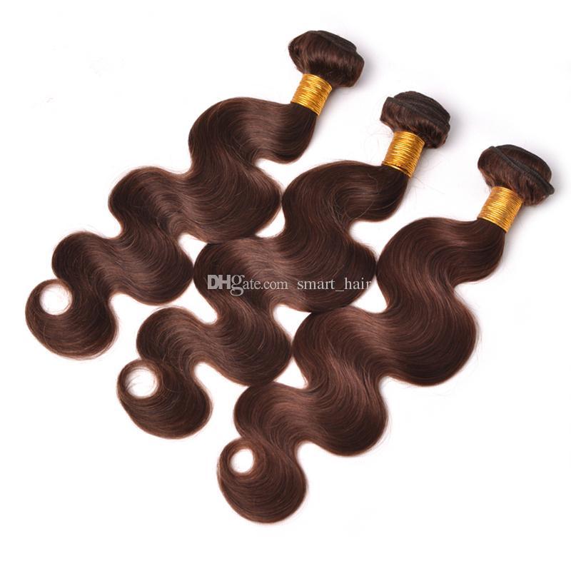 Dark Brown #4 Body Wave Human Hair 3 Bundles Brazilian Virgin Human Hair Weft Chocolate Brown Body Wave Wavy Hair Extension 10-30 Inch