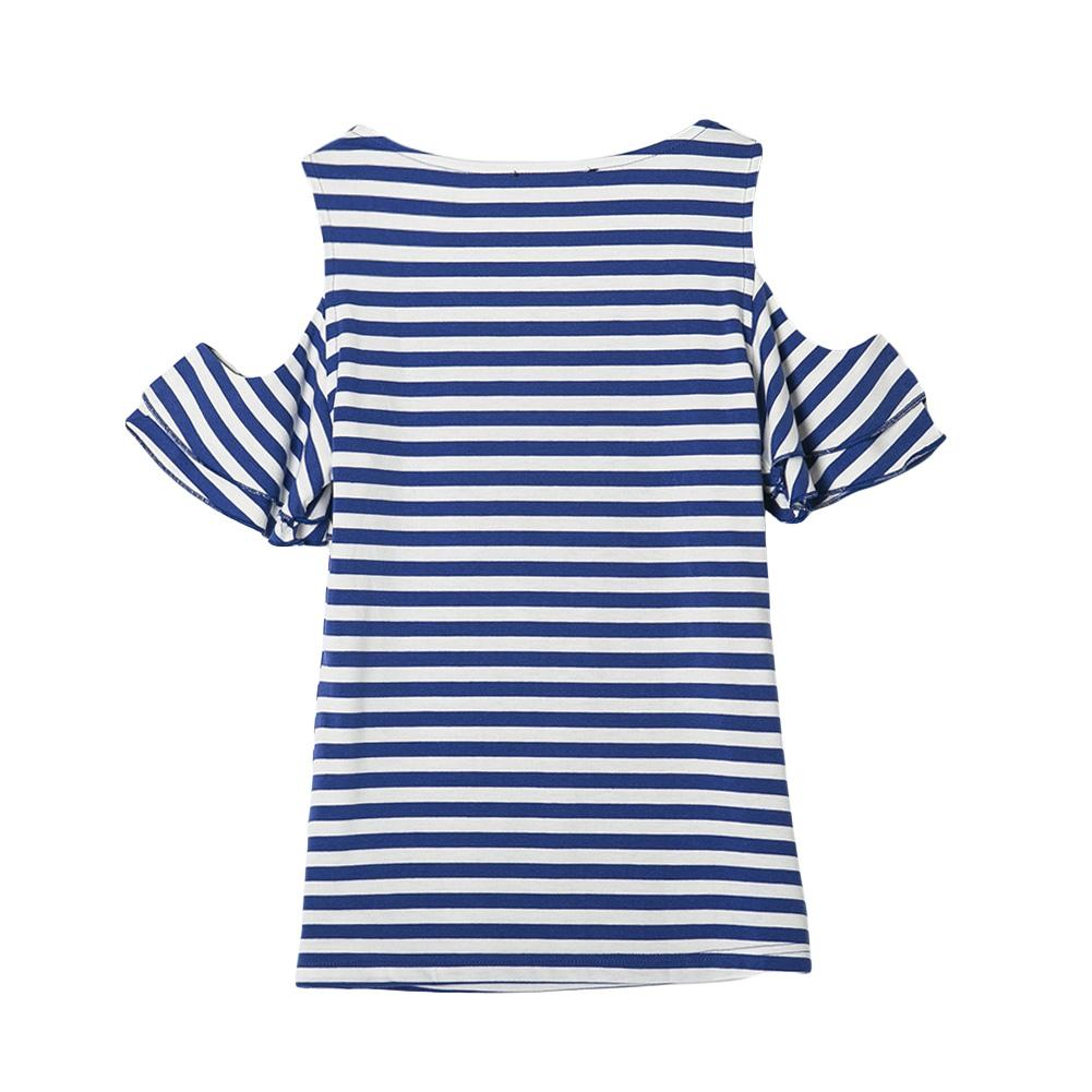 Cold Shoulder Ruffles White Blue Striped Blouses Women Summer Tops Sexy 2017 New Ladies Brand Shirt Casual XXL Plus Size Blouse