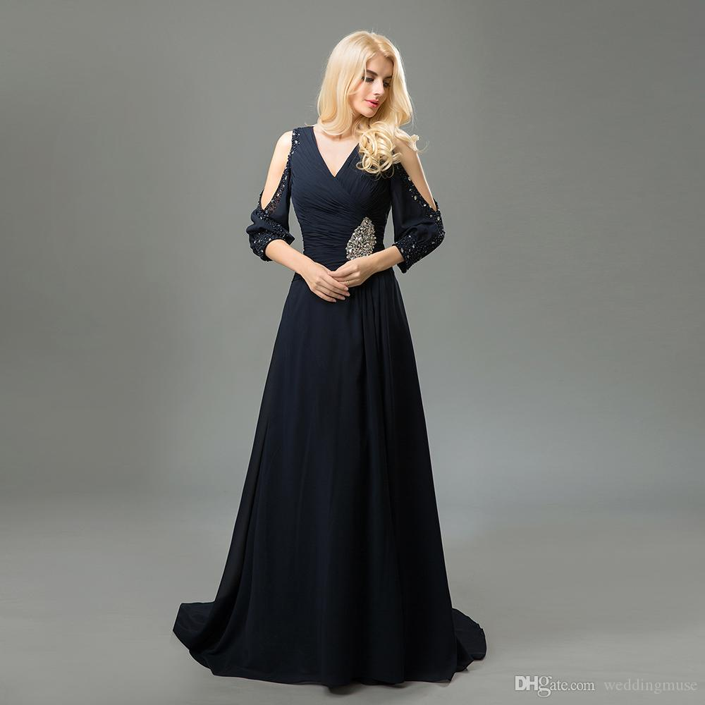 2021 Real Navy Mother Of The Bride Dresses 3/4 Sleeves V Neck Sexy A Line Sequins Beaded Mother Of The Groom Dresses