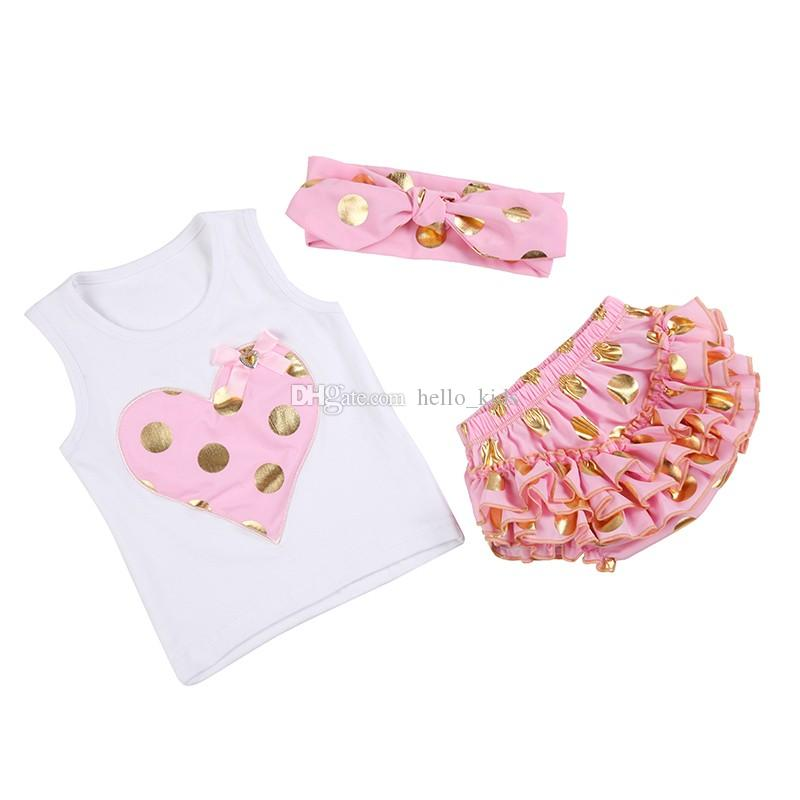 Baby Girls 골드 폴카 도트 First Birthday 기저귀 커버 Ruffle Bloomer Heart Vest + 바지 + 매듭 머리띠 3 피스 세트 Birthday Outfit