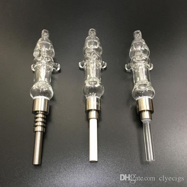 Micro vaped body Glass Core with dab straw oil rigs with Titanium nail ceramic tip and quartz tip