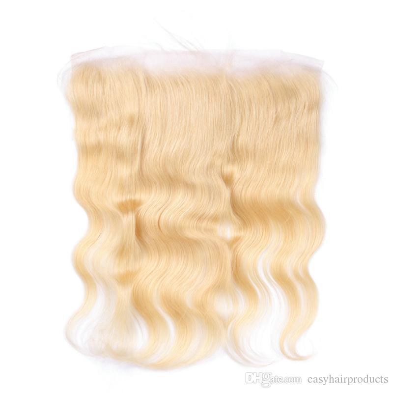 # 613 blonde menschliches haar lace frontal malaysischen körper welle jungfräulich wellig frontal verschluss gebleichte knoten G-EASY