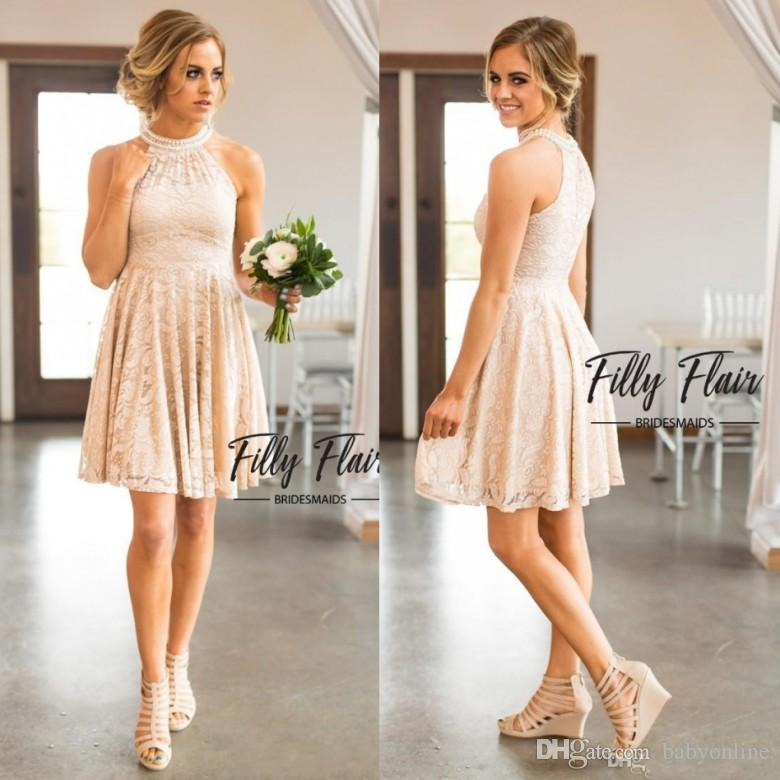 3cb90ef1f4f9d 2017 Nude Blush Keyhole Neck A Line Full Lace Country Bridesmaid Dresses  Knee Length Crystal Homecoming Gowns Beach Cheap Party Dress Bridesmaid  Dress Ideas ...