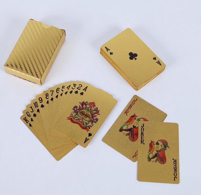Baralho de cartas de baralho de ouro folha de ouro de poker cartão de magia cartão de plástico de plástico durável à prova d 'água 3 projetos EUA dólar / euro estilo / estilo geral
